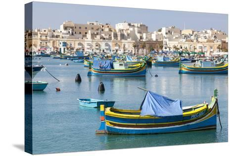 Luzzu Fishing Boats on the Harbor of Marsaxlokk, Malta-Martin Zwick-Stretched Canvas Print