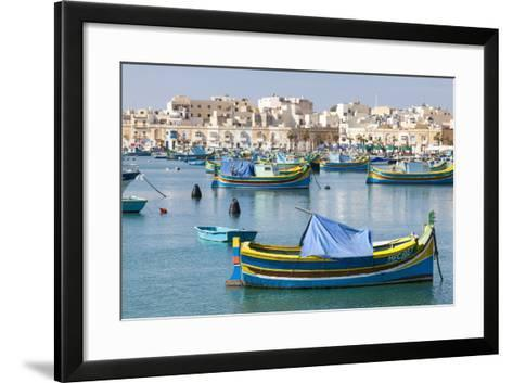Luzzu Fishing Boats on the Harbor of Marsaxlokk, Malta-Martin Zwick-Framed Art Print
