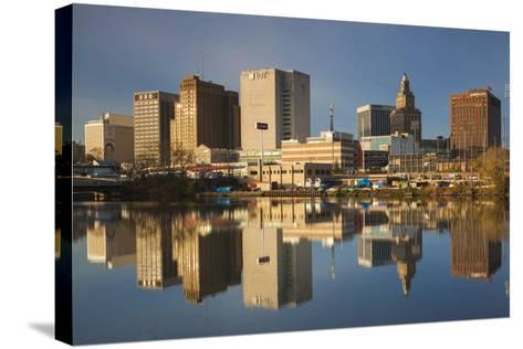 USA, New Jersey, Newark, City Skyline from Passaic River, Morning-Walter Bibikow-Stretched Canvas Print