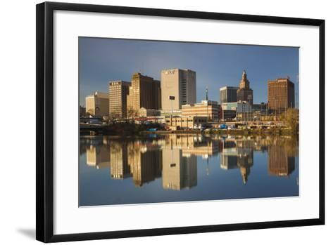 USA, New Jersey, Newark, City Skyline from Passaic River, Morning-Walter Bibikow-Framed Art Print