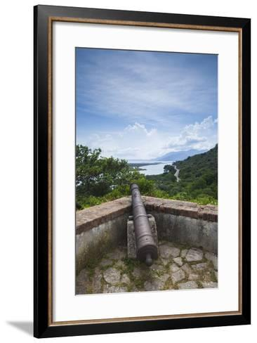 Albania, Albanian Riviera, Butrint, View from the Butrint Acropolis-Walter Bibikow-Framed Art Print