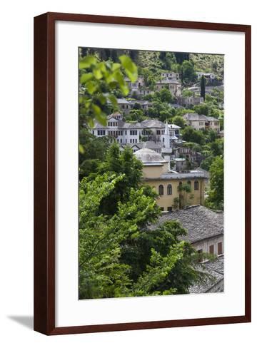 Albania, Gjirokastra, Elevated View of Ottoman Houses-Walter Bibikow-Framed Art Print