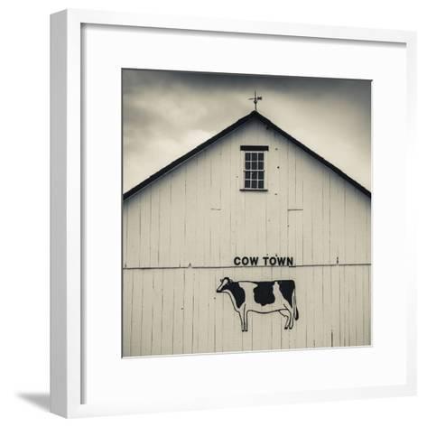 USA, Pennsylvania, Dutch Country, Smoketown, Barn with Cow Art-Walter Bibikow-Framed Art Print