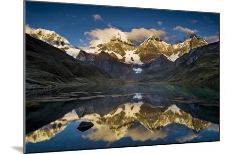 Mount Yerupaja Reflects in Lake Huayhuish, Andes Mountains, Peru-Howie Garber-Mounted Photographic Print