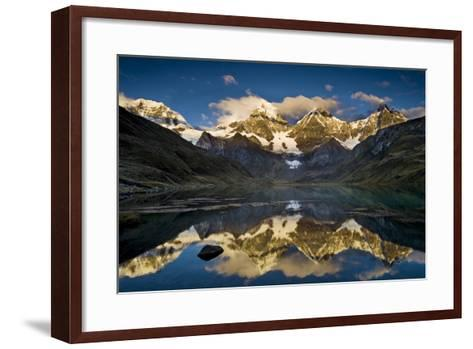 Mount Yerupaja Reflects in Lake Huayhuish, Andes Mountains, Peru-Howie Garber-Framed Art Print