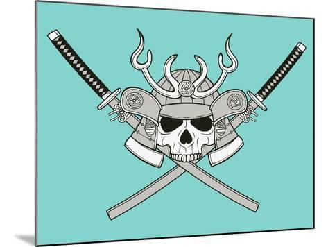 Monochrome Skull Illustration- riedjal-Mounted Art Print