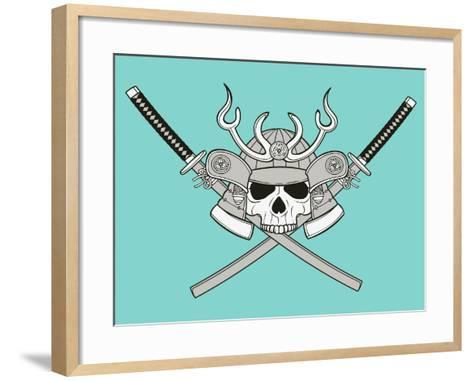 Monochrome Skull Illustration- riedjal-Framed Art Print