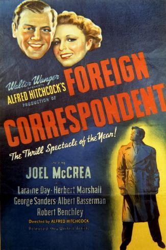 Foreign Correspondent - Movie Poster Reproduction--Stretched Canvas Print