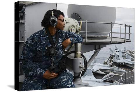 Seaman Observes Flight Operations Aboard USS Ronald Reagan--Stretched Canvas Print