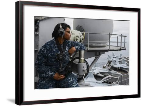 Seaman Observes Flight Operations Aboard USS Ronald Reagan--Framed Art Print