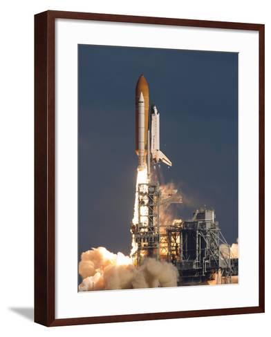 Space Shuttle Atlantis Clears the Tower at the Kennedy Space Center, Florida--Framed Art Print