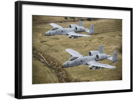 Two A-10 Thunderbolt Ii's Conduct a Training Mission over Arkansas--Framed Art Print