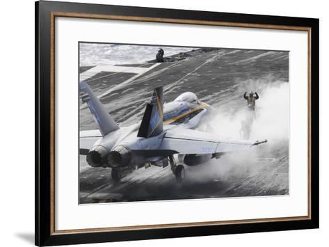 Sailors Prepare an F-A-18C Hornet to Launch from USS Nimitz--Framed Art Print
