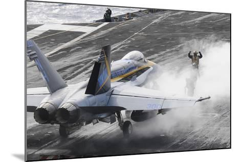 Sailors Prepare an F-A-18C Hornet to Launch from USS Nimitz--Mounted Photographic Print