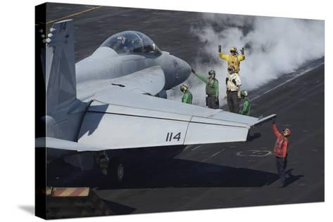 Sailors Prepare an F-A-18F Super Hornet for Launch--Stretched Canvas Print