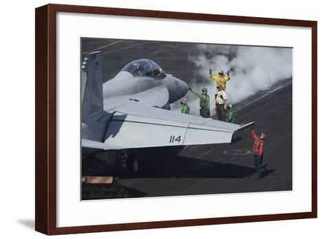 Sailors Prepare an F-A-18F Super Hornet for Launch--Framed Art Print