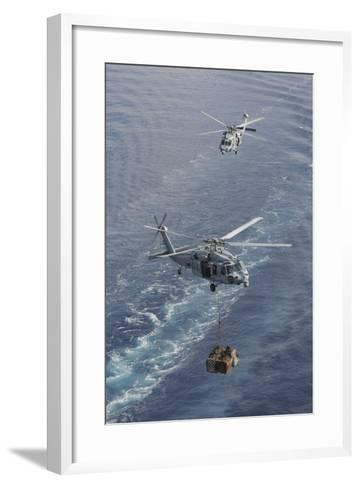 Two Mh-60S Sea Hawk Helicopters Transport Supplies--Framed Art Print