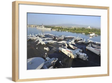 Sailors Render Honors Aboard the Aircraft Carrier USS Nimitz--Framed Art Print