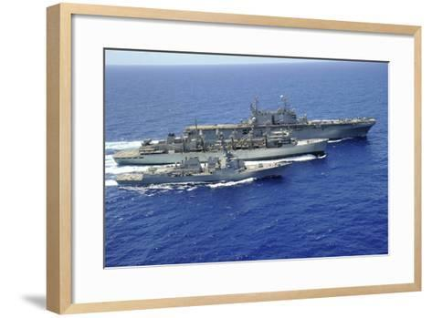 Uss Peleliu and USS Spruance Conduct a Replenishment at Sea with Usns Rainier--Framed Art Print
