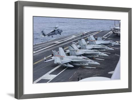 An Mh-60R Sea Hawk Lands on the Flight Deck of USS Carl Vinson--Framed Art Print
