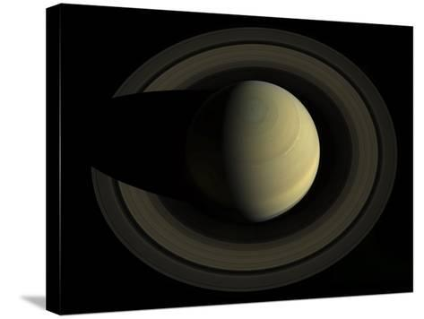 Natural Color Mosaic of Planet Saturn and its Main Rings--Stretched Canvas Print