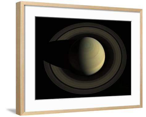 Natural Color Mosaic of Planet Saturn and its Main Rings--Framed Art Print