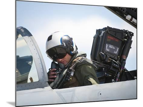 Naval Aviator Performs Pre-Flight Checks on an F-A-18C Hornet--Mounted Photographic Print