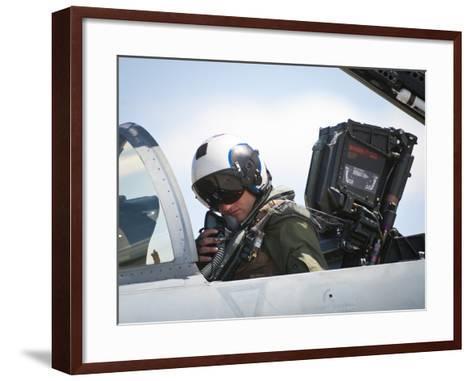 Naval Aviator Performs Pre-Flight Checks on an F-A-18C Hornet--Framed Art Print