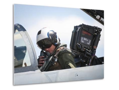 Naval Aviator Performs Pre-Flight Checks on an F-A-18C Hornet--Metal Print