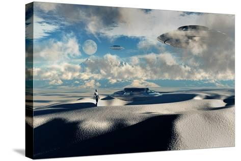 Alien Base with Ufos Located in the Antarctic--Stretched Canvas Print