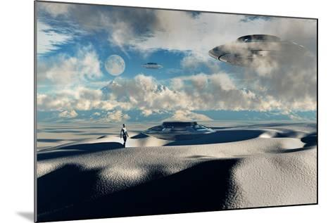 Alien Base with Ufos Located in the Antarctic--Mounted Art Print