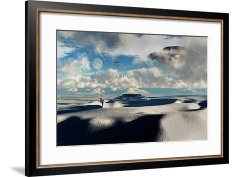 Alien Base with Ufos Located in the Antarctic--Framed Art Print