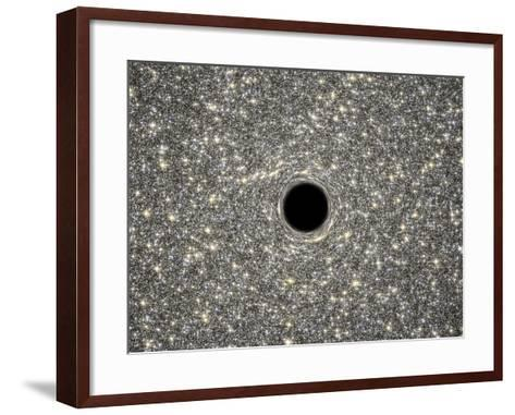 Illustration of a Supermassive Black Hole in the Middle of a Dense Galaxy--Framed Art Print
