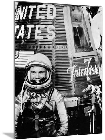 Astronaut John H. Glenn Jr. with the Mercury Friendship 7 Spacecraft--Mounted Photographic Print