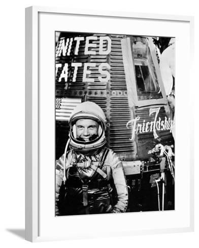 Astronaut John H. Glenn Jr. with the Mercury Friendship 7 Spacecraft--Framed Art Print