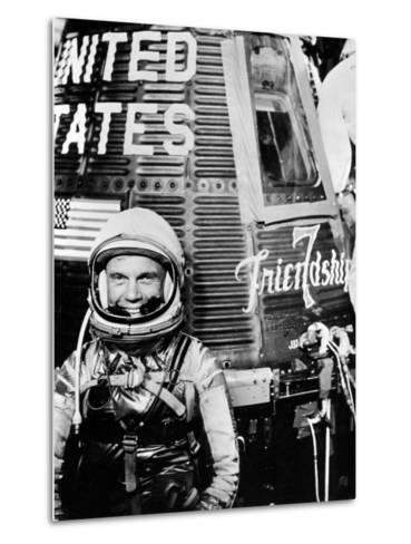 Astronaut John H. Glenn Jr. with the Mercury Friendship 7 Spacecraft--Metal Print