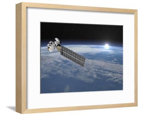 Aqua Satellite Orbiting Earth and Rising Sun--Framed Art Print