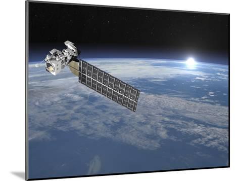 Aqua Satellite Orbiting Earth and Rising Sun--Mounted Art Print