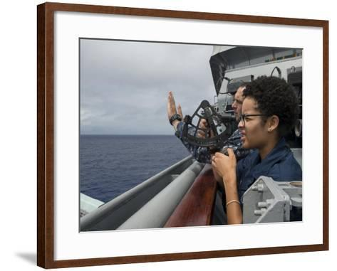 A Seaman Learns How to Operate a Sextant Aboard USS Rushmore--Framed Art Print