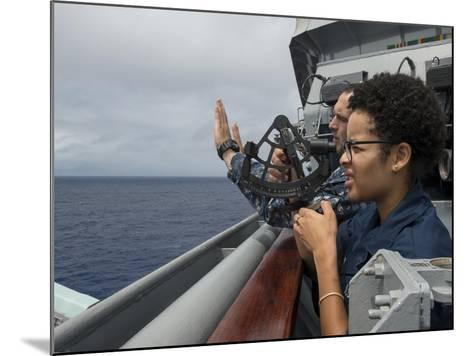 A Seaman Learns How to Operate a Sextant Aboard USS Rushmore--Mounted Photographic Print