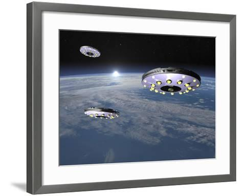 Three Ufo's Flying Above Planet Earth--Framed Art Print