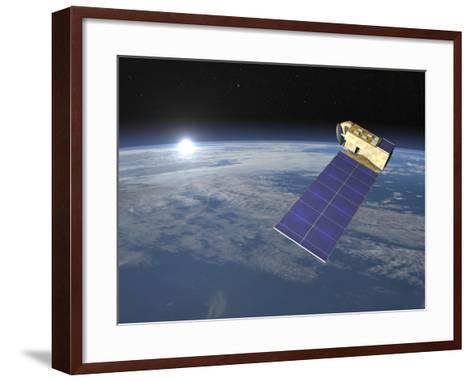 Aura Satellite Orbiting Earth and Rising Sun--Framed Art Print