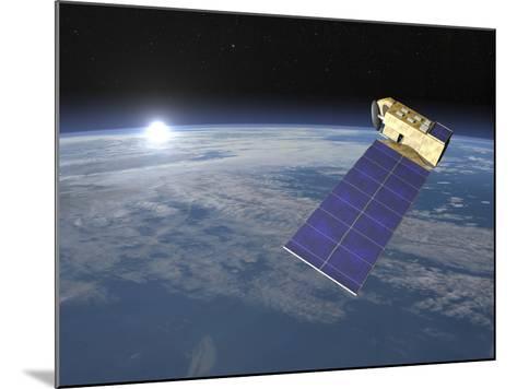 Aura Satellite Orbiting Earth and Rising Sun--Mounted Art Print