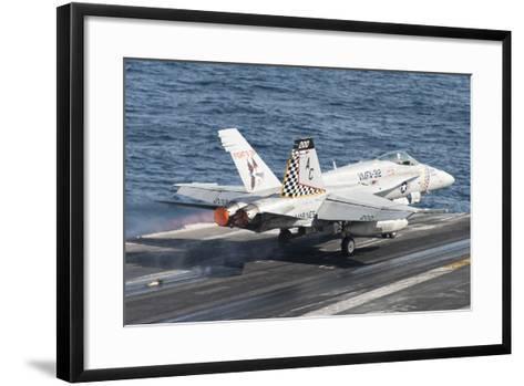 An F-A-18C Hornet Launches from USS Harry S. Truman--Framed Art Print