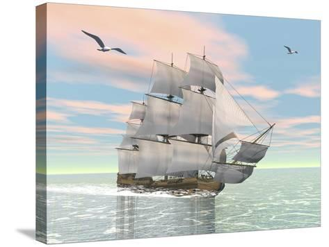 Old Merchant Ship Sailing in the Ocean with Seagulls Above--Stretched Canvas Print
