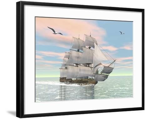 Old Merchant Ship Sailing in the Ocean with Seagulls Above--Framed Art Print
