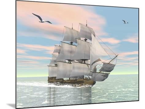 Old Merchant Ship Sailing in the Ocean with Seagulls Above--Mounted Art Print