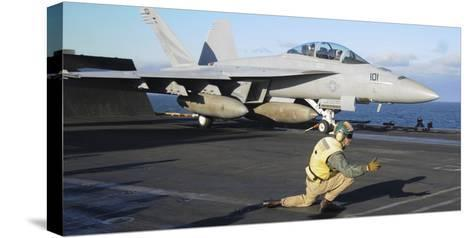 An F-A-18F Super Hornet Prepares to Launch from the Flight Deck of USS Nimitz--Stretched Canvas Print