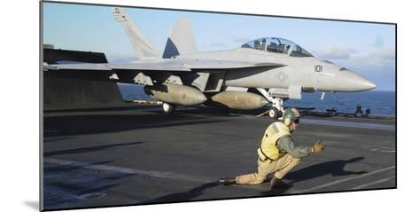 An F-A-18F Super Hornet Prepares to Launch from the Flight Deck of USS Nimitz--Mounted Photographic Print