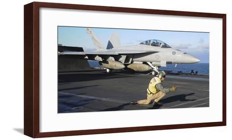 An F-A-18F Super Hornet Prepares to Launch from the Flight Deck of USS Nimitz--Framed Art Print
